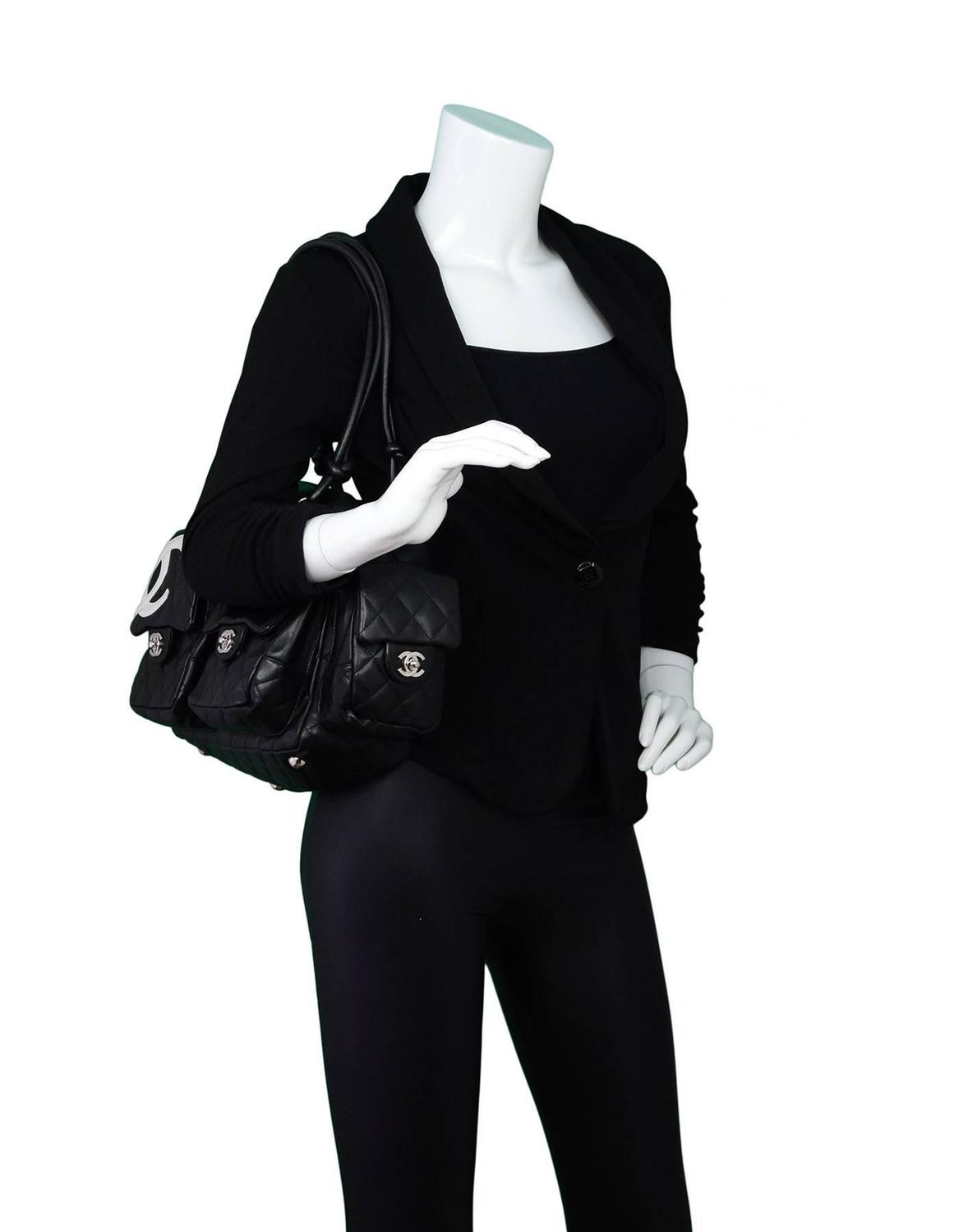 7c0a2533ca38f3 Chanel Black Leather Cambon Ligne Multipocket Reporter Bag with Dust Bag  For Sale at 1stdibs