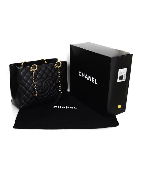 e85280183e208b Chanel DISCONTINUED Black Caviar Leather GST Grand Shopper Tote Bag For  Sale 5
