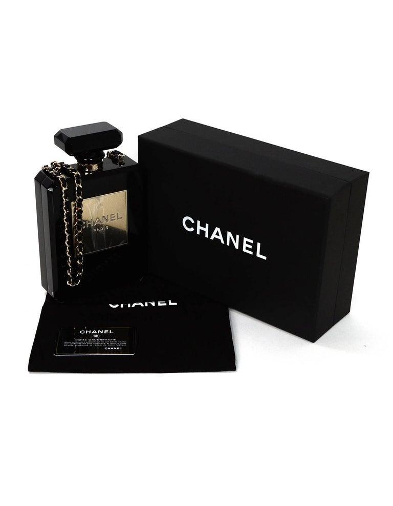 Chanel NEW 2014 Black Plexiglass Perfume Bottle Crossbody Evening Bag 8