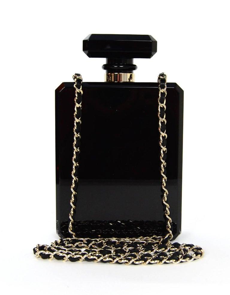 Chanel NEW 2014 Black Plexiglass Perfume Bottle Crossbody Evening Bag 2
