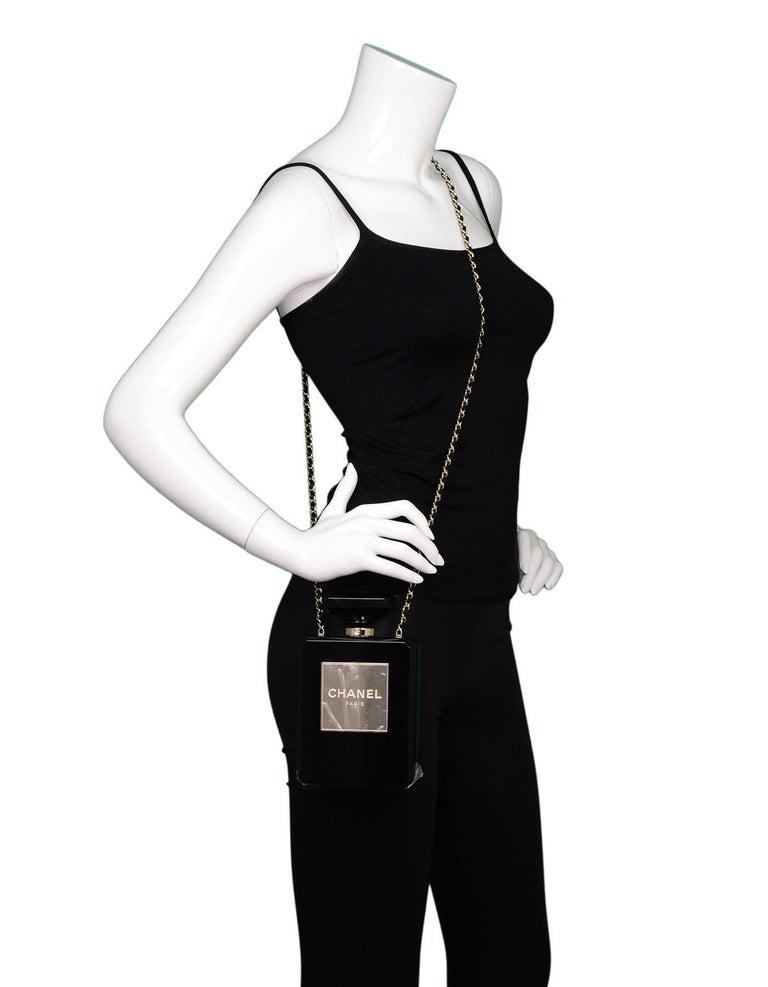 Chanel NEW 2014 Black Plexiglass Perfume Bottle Crossbody Evening Bag 9