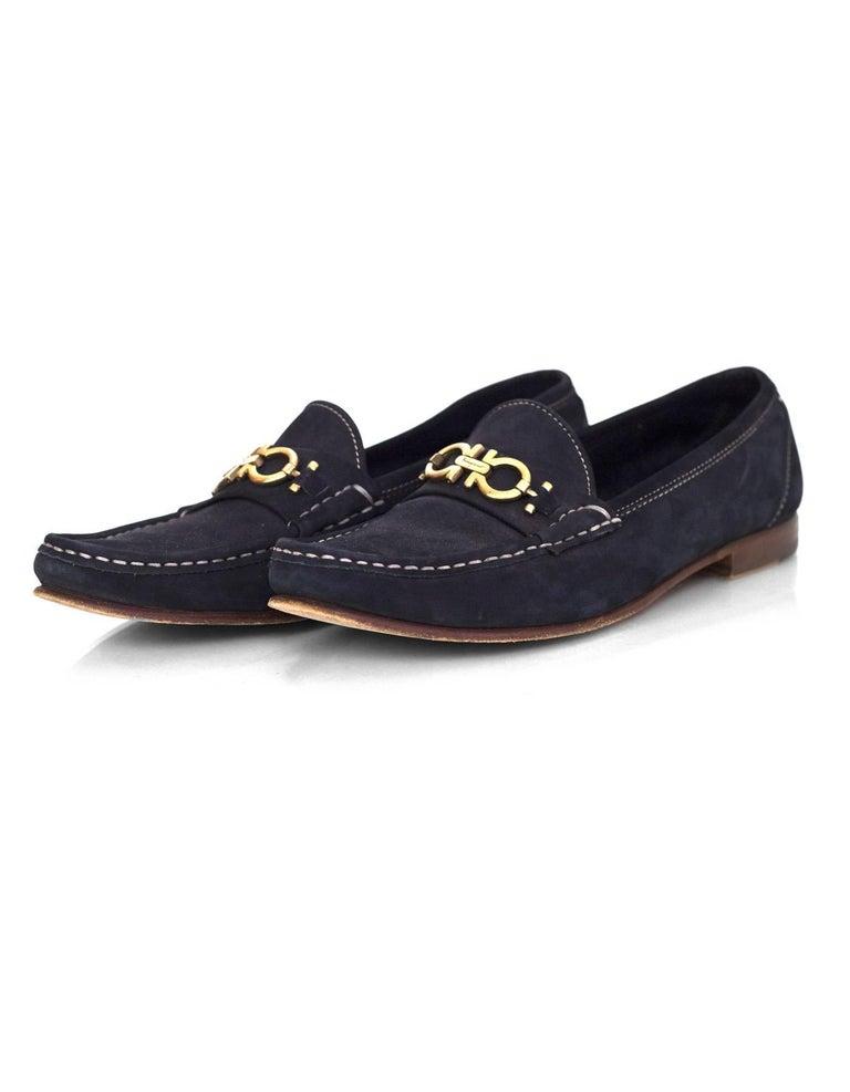 Salvatore Ferragamo Navy Suede Loafers Sz 9AA 2