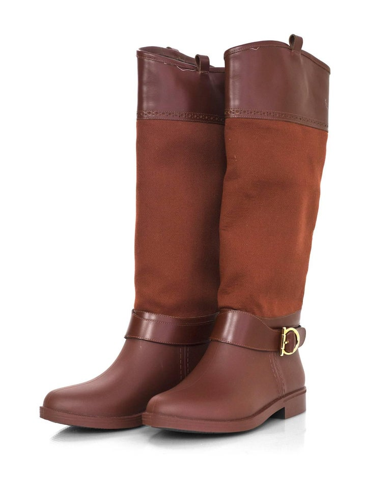 Salvatore Ferragamo Rust Canvas Leather Riding Boots Sz 5