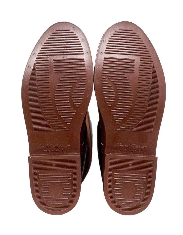 Salvatore Ferragamo Rust Canvas Leather Riding Boots Sz 5