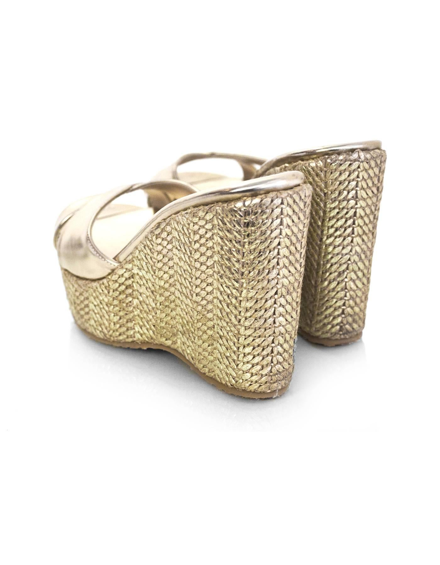 37b580cb12a ... germany womens jimmy choo gold metallic criss cross perfume woven  wedges sz 37 rt. 450