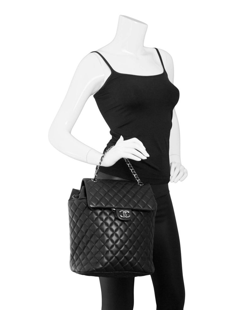 f631d1414862 Chanel Black Quilted Lambskin Large Urban Spirit Backpack with Box In  Excellent Condition For Sale In