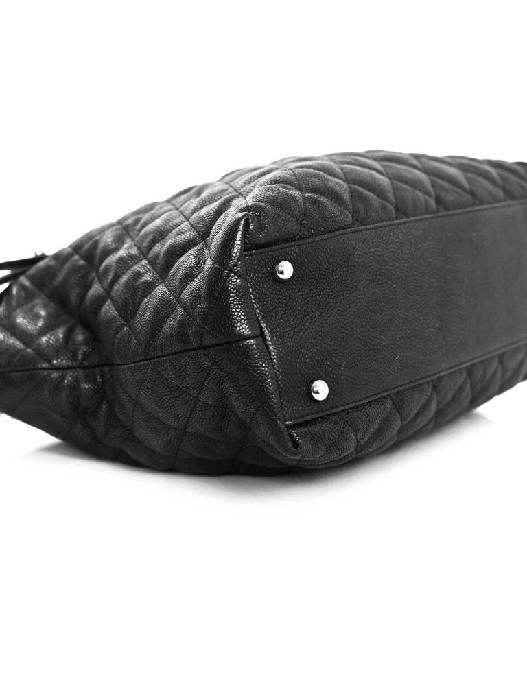 09008966f30 Chanel Black Quilted Caviar Leather French Riviera Hobo Bag w. Srrap For  Sale 1