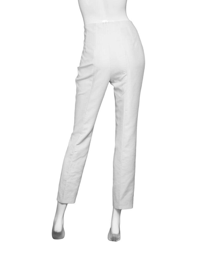 Gray Akris White Cropped Pants Sz 8 For Sale
