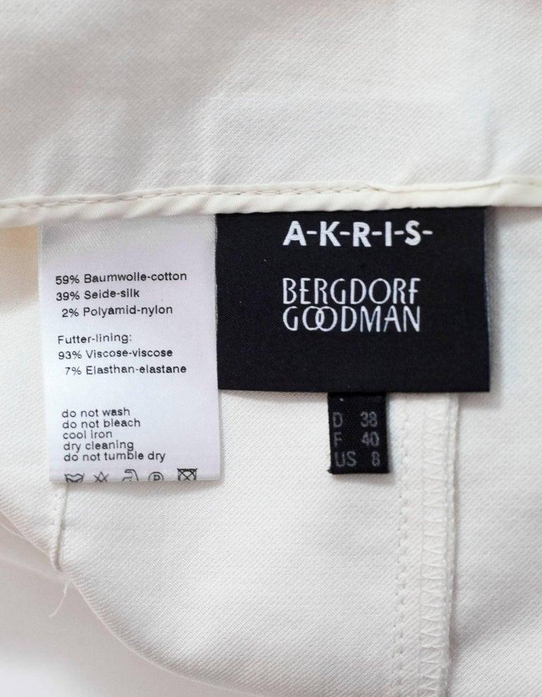 Akris White Cropped Pants Sz 8 For Sale 1