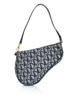 Christian Dior Vintage Blue Monogram Mini Saddle Bag