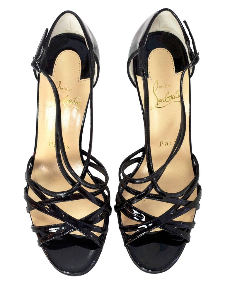 Christian Louboutin NEW Black Patent Ete Sandals sz 37 NIB w/BOX/DB In Excellent Condition For Sale In New York, NY