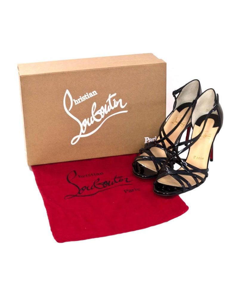 Christian Louboutin NEW Black Patent Ete Sandals sz 37 NIB w/BOX/DB 6
