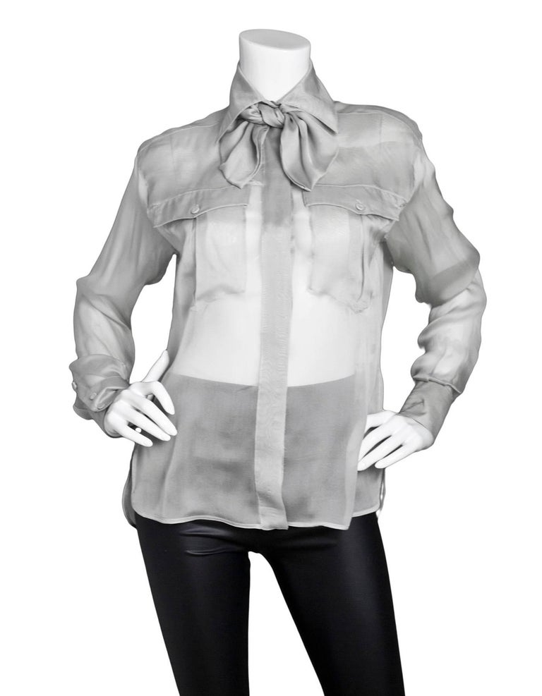 Fendi Grey Sheer Silk Blouse with Bow Tie Sz IT38 3