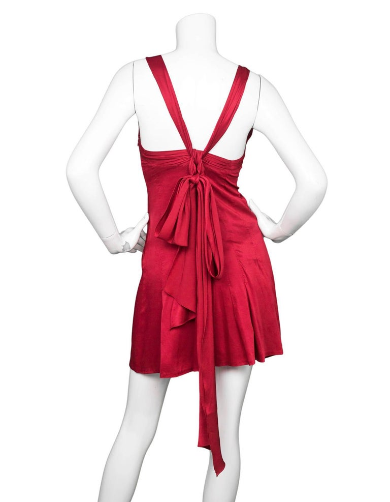 Moschino Brick Red Cocktail Dress w/ Bow Pleated Back Sz US4 In Excellent Condition For Sale In New York, NY
