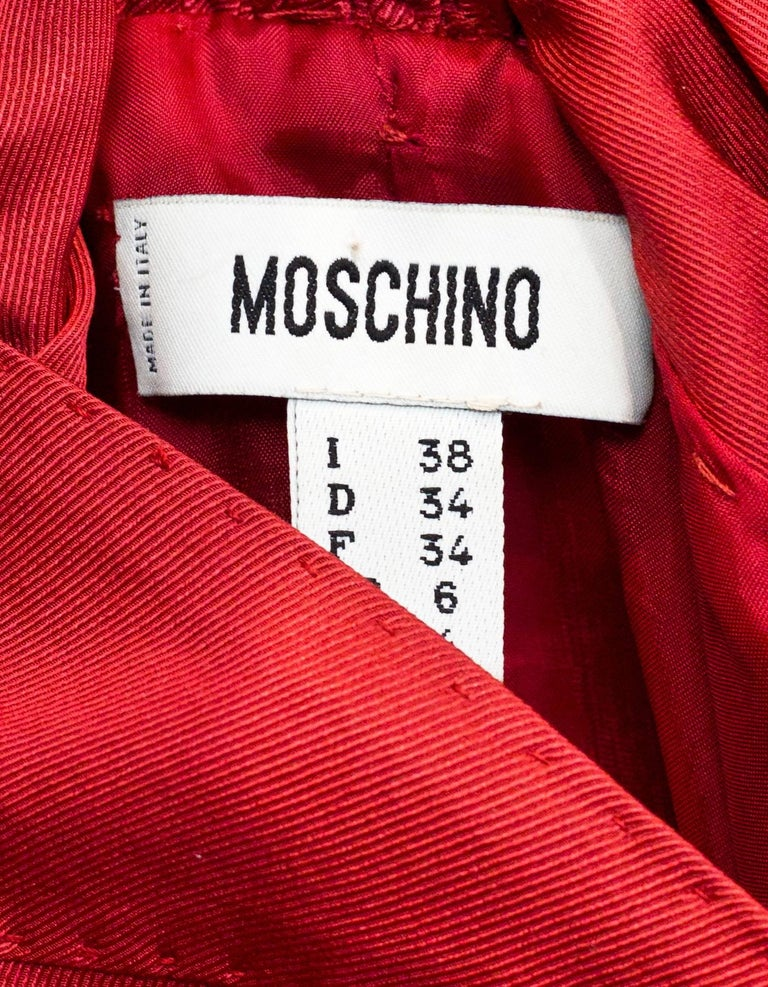 Women's Moschino Brick Red Cocktail Dress w/ Bow Pleated Back Sz US4 For Sale