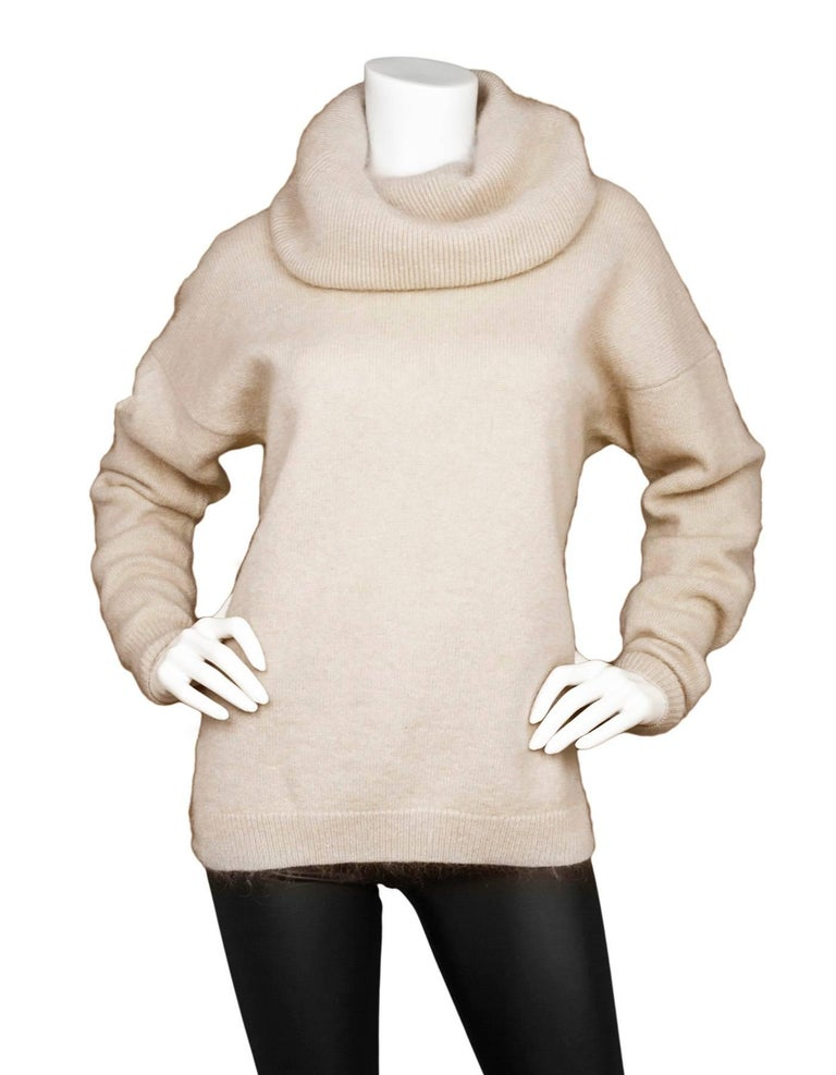 Acne Studios Oatmeal Wool Oversized Sweater Sz S  Features optional cowl neck  Made In: China Color: Oatmeal Composition: 60% wool, 25% mohair, 15% nylon Closure/Opening: Pull over Overall Condition: Excellent pre-owned condition  Marked Size: