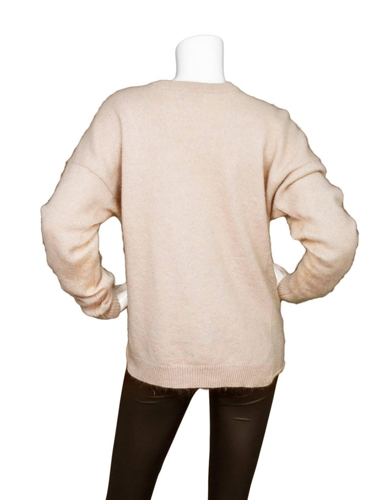 Acne Studios Oatmeal Wool Oversized Sweater w/ Removable Collar Sz S In Excellent Condition For Sale In New York, NY