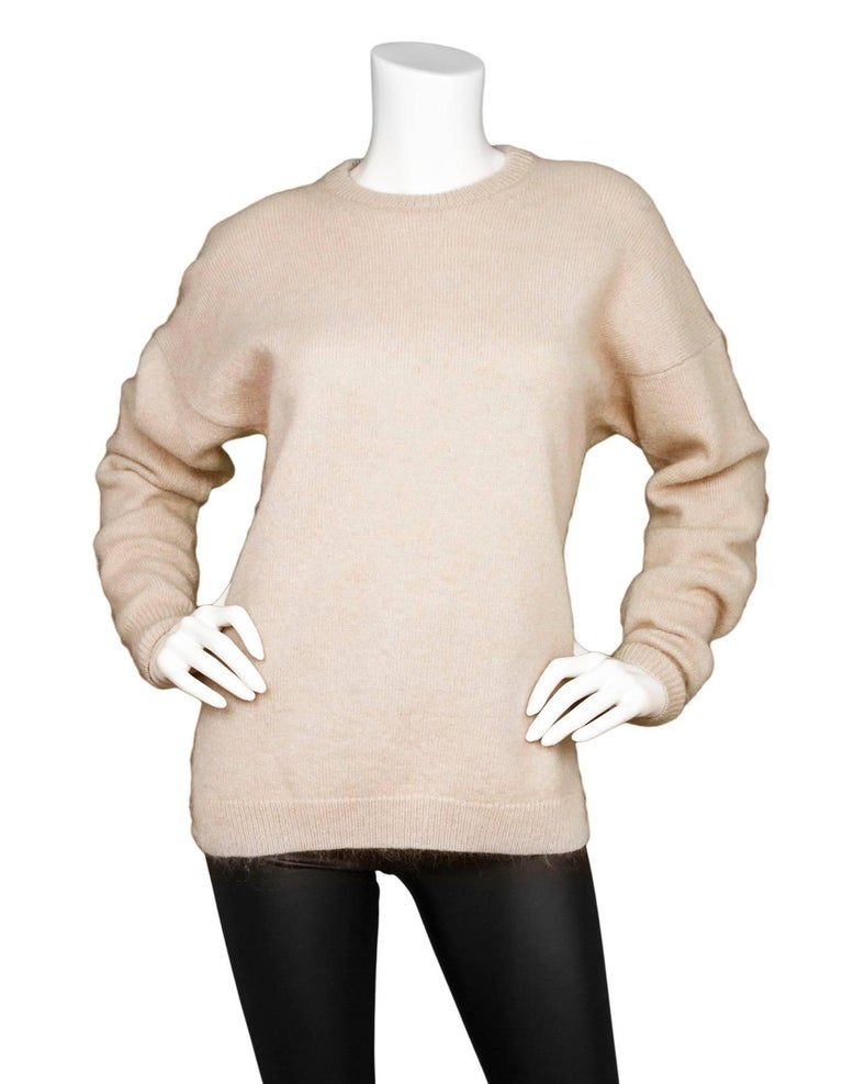 Beige Acne Studios Oatmeal Wool Oversized Sweater w/ Removable Collar Sz S For Sale