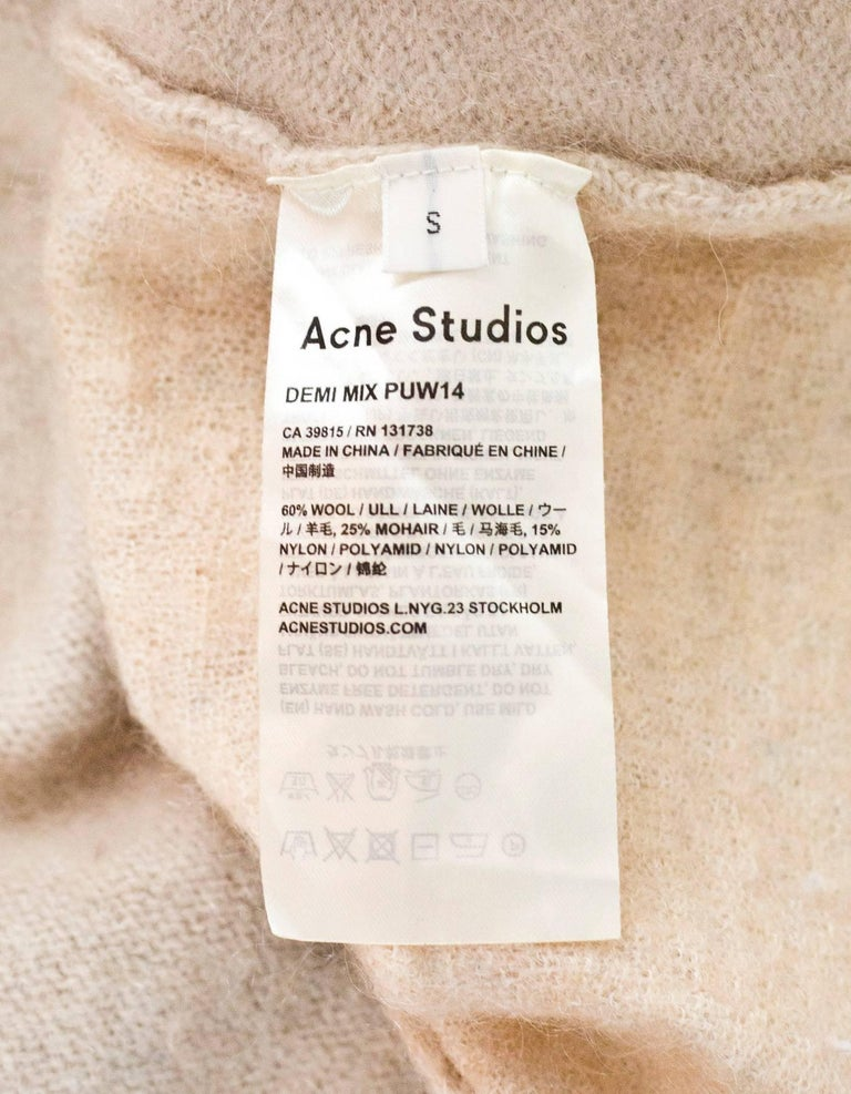Acne Studios Oatmeal Wool Oversized Sweater w/ Removable Collar Sz S For Sale 2