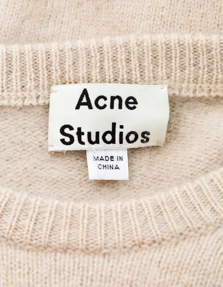Acne Studios Oatmeal Wool Oversized Sweater w/ Removable Collar Sz S For Sale 1