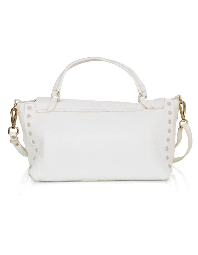 Zanellato White Leather Small Postina Handle Bag In Excellent Condition For Sale In New York, NY