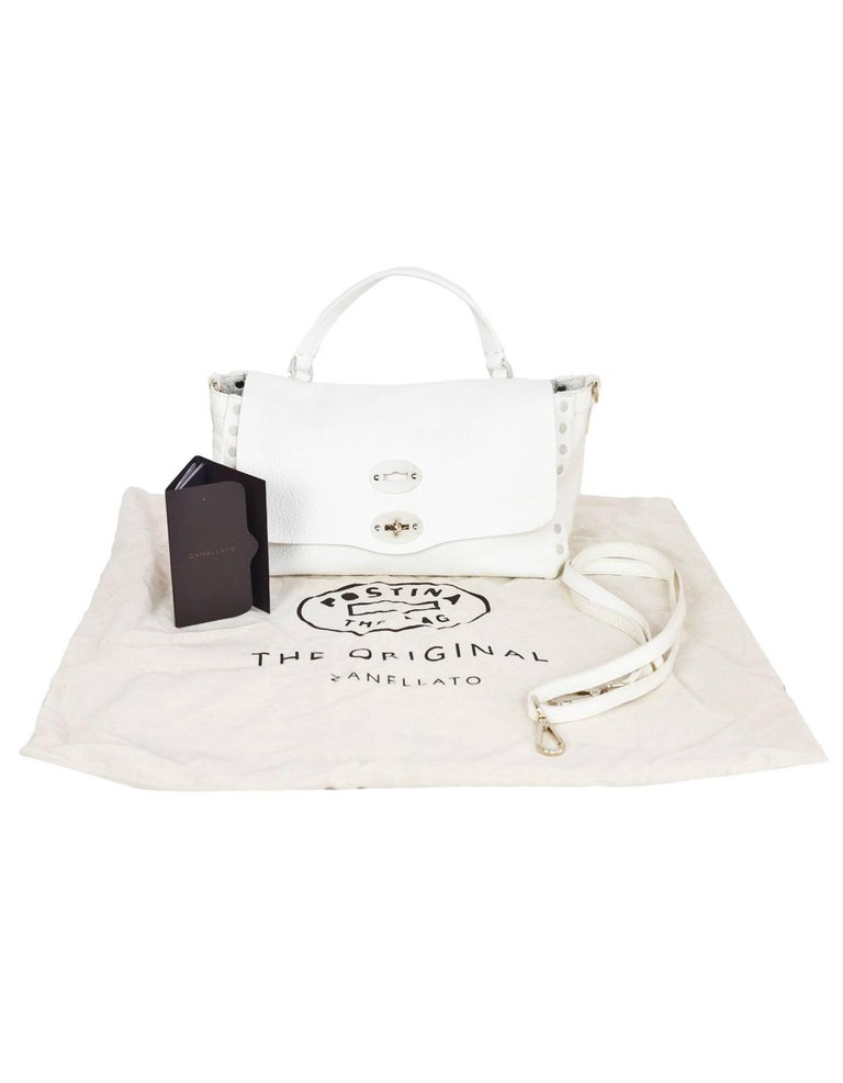 Zanellato White Leather Small Postina Handle Bag For Sale 5