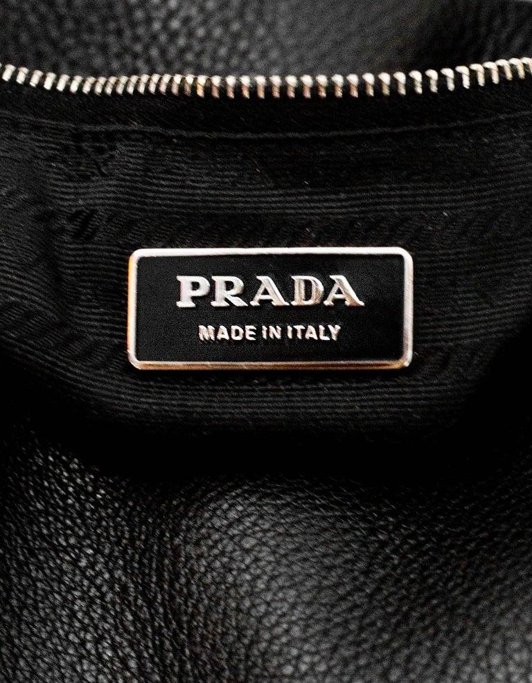 Prada Black Leather Tote Bag For Sale 3
