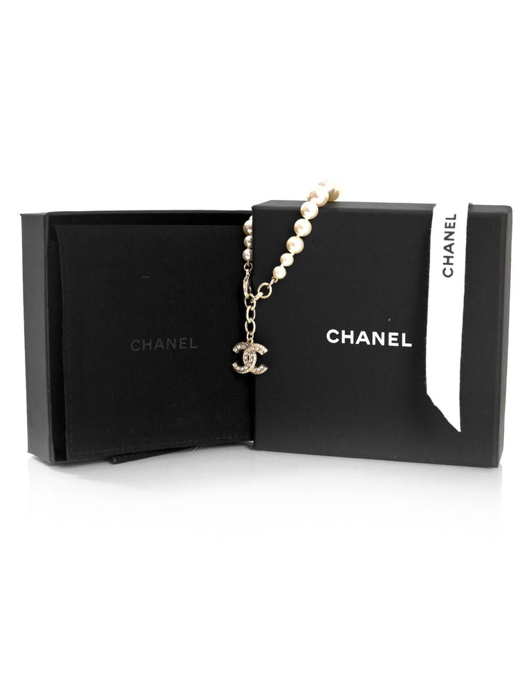 Chanel Graduated Pearl & Crystal CC Pendant Bracelet 4