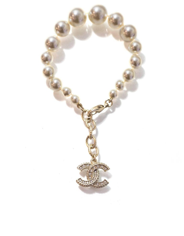 Chanel Graduated Pearl & Crystal CC Pendant Bracelet 2