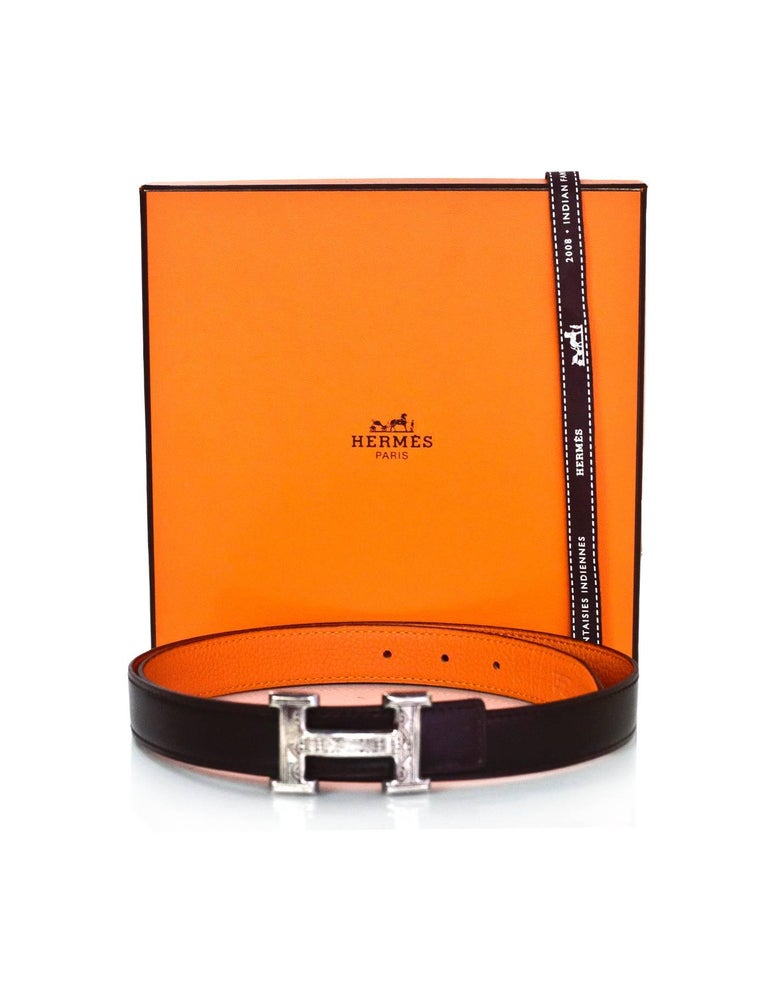 Hermes Brown & Orange Sterling Engraved H Touareg 24mm Belt Kit sz 85 For Sale 3