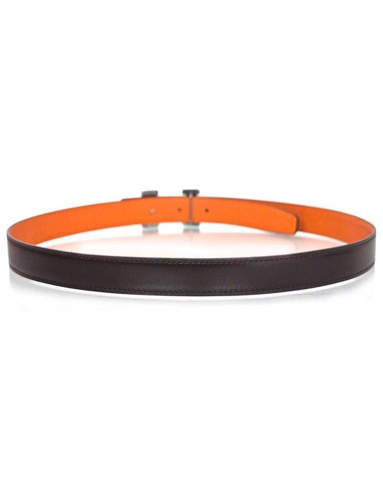 Hermes Brown & Orange Sterling Engraved H Touareg 24mm Belt Kit sz 85 3