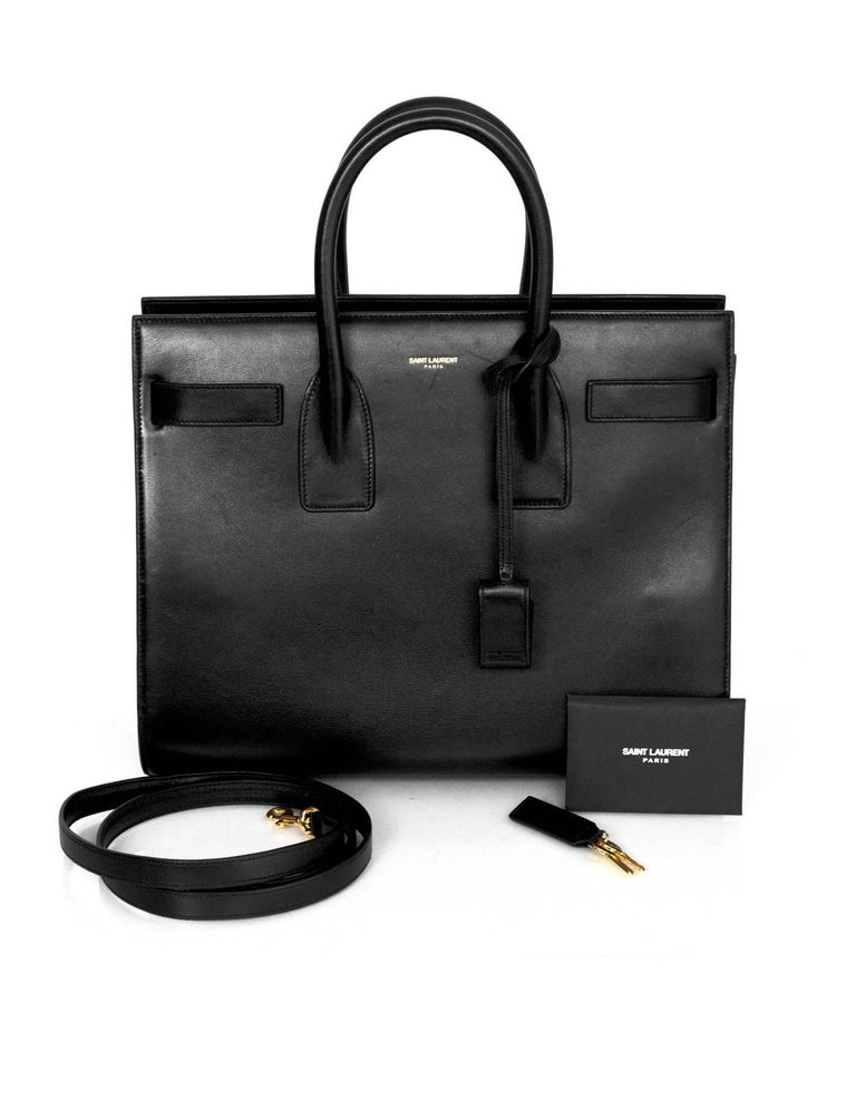 8/9 Saint Laurent Black Calfskin Small Sac De Jour Bag 9