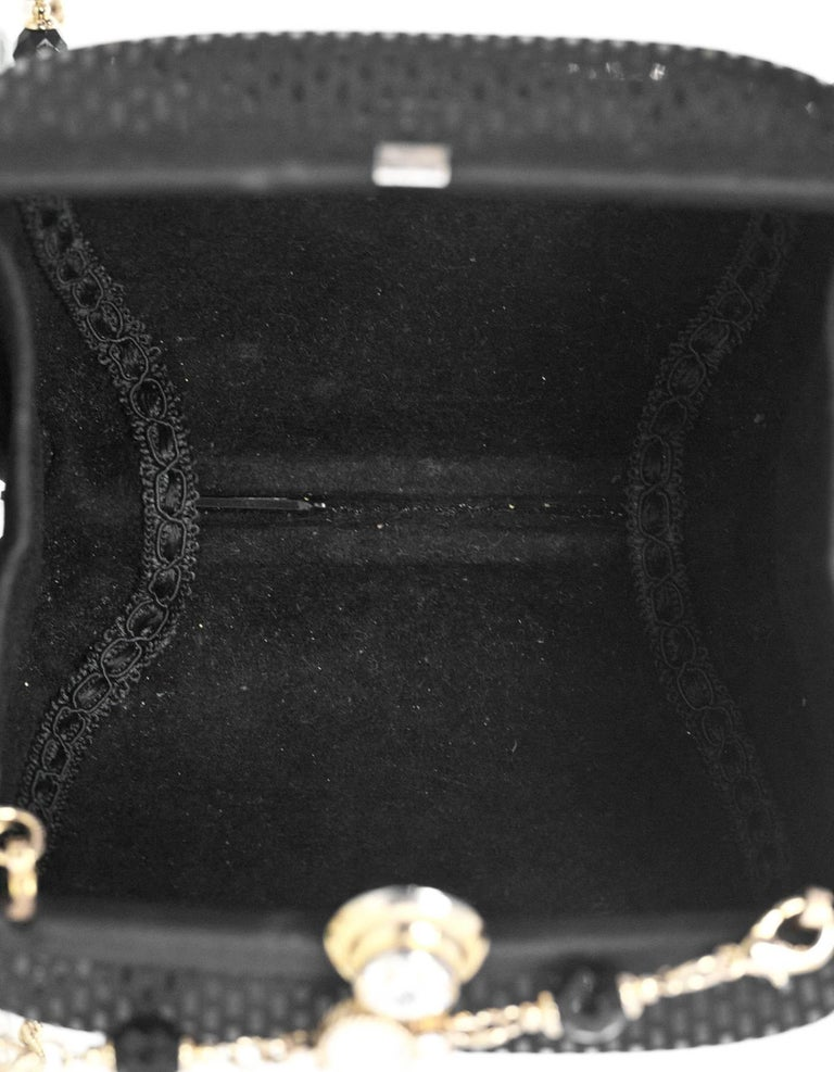 St. John Black Evening Bag w/ Goldtone Faux Stone Crossbody Strap 7