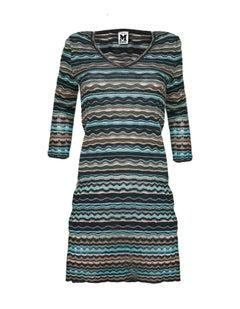 M Missoni Blue & Grey Knit Long Sleeve Dress sz S