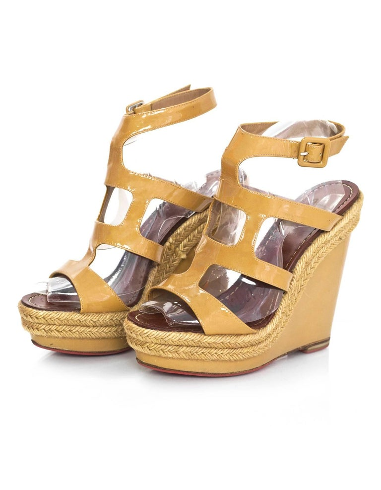 01edbafe653d Christian Louboutin Tan Patent Wedge Sandals Sz 37 with DB For Sale ...