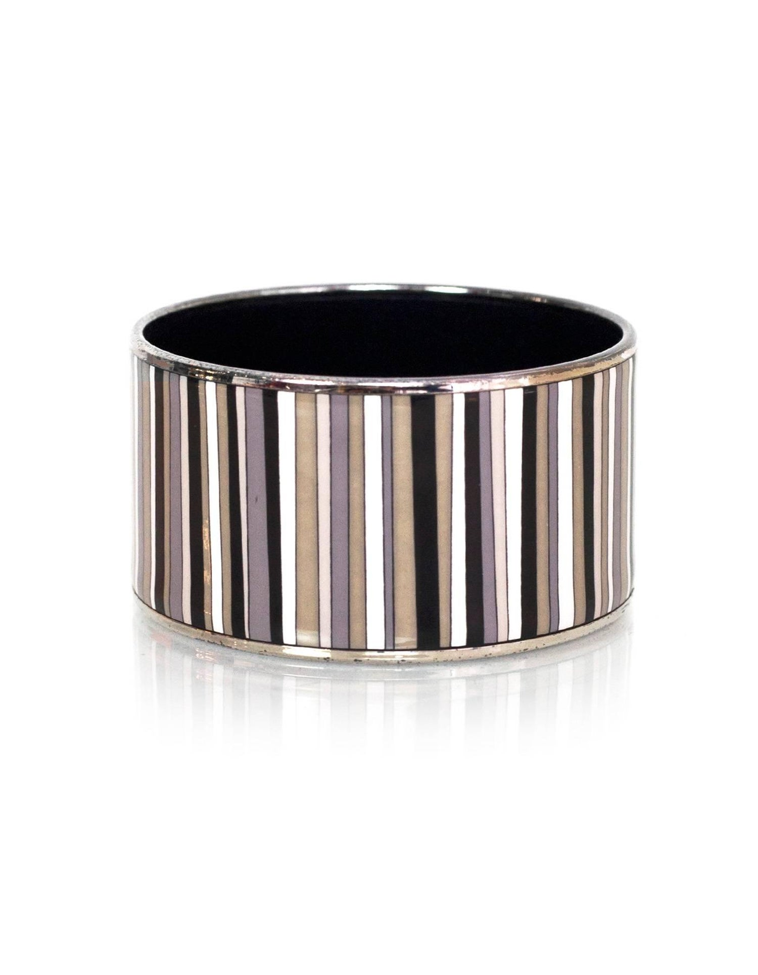 Hermes Black Grey White Extra Wide Carioca Stripes Enamel Bangle Bracelet Sz 65 For At 1stdibs