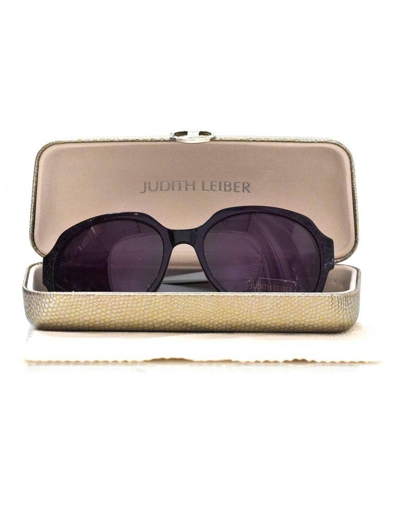Judith Leiber JL1169 Black Swarovski Crystal Sunglasses with Case For Sale 5