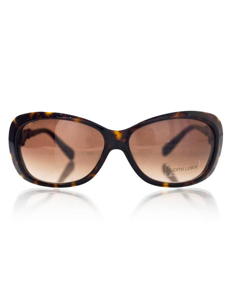 Judith Leiber JL1619 Brown Tortoise Swarovski Crystal Sunglasses rt. $620 In Excellent Condition For Sale In New York, NY