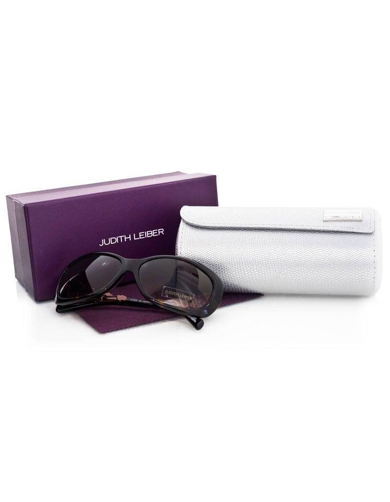 Judith Leiber JL1619 Brown Tortoise Swarovski Crystal Sunglasses rt. $620 8