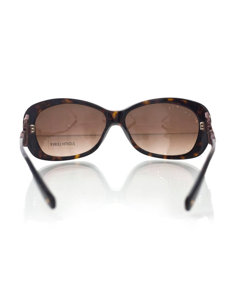 Judith Leiber JL1619 Brown Tortoise Swarovski Crystal Sunglasses rt. $620 5