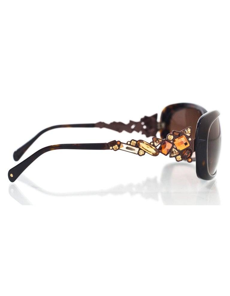 Judith Leiber JL1619 Brown Tortoise Swarovski Crystal Sunglasses rt. $620 4