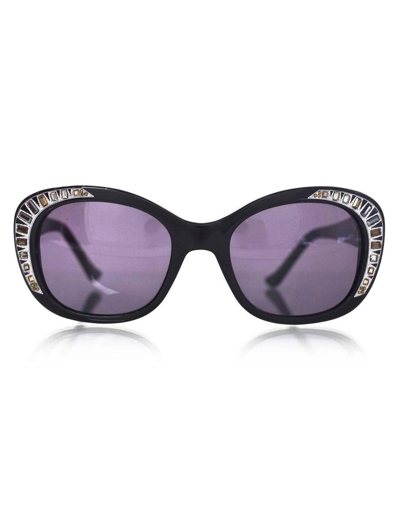 """Judith Leiber Black Deja Vu Crystal Sunglasses  Made In: Italy Color: Black Materials: Resin, crystal Retail Price: $460 + tax Overall Condition: Excellent pre-owned condition Includes: Judith Leiber box, case  Measurements:  Across: 6"""" Lens:"""
