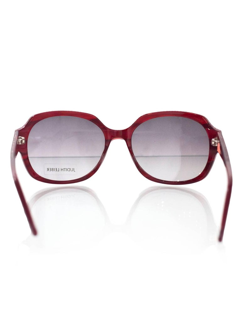 24d1b516830fe Women s Judith Leiber JL1169 Red Swarovski Crystal Sunglasses w  Box   Case  For Sale