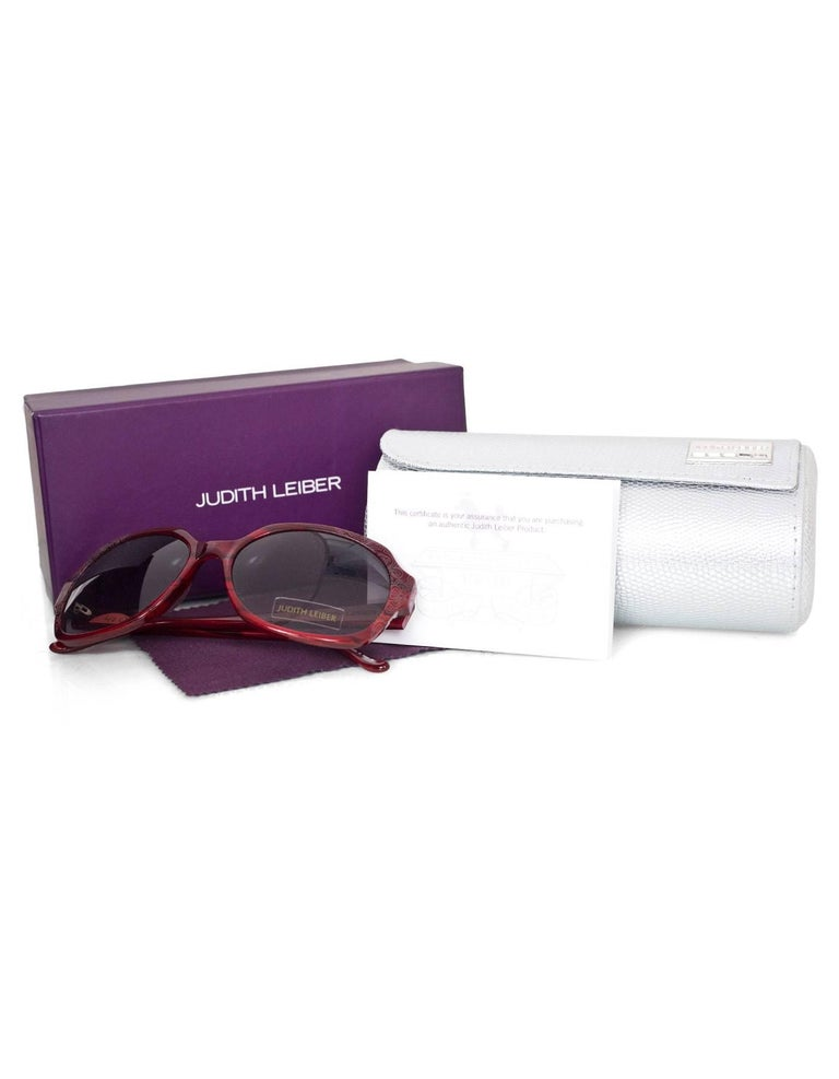 080a17076355b Judith Leiber JL1169 Red Swarovski Crystal Sunglasses w  Box   Case For Sale  3