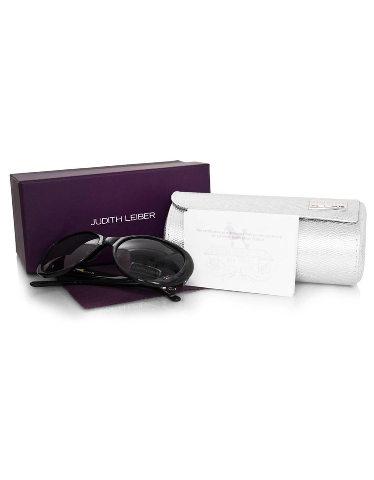 Judith Leiber JL1612 Black Glitter & Purple Crystal Sunglasses with Box & Case For Sale 3