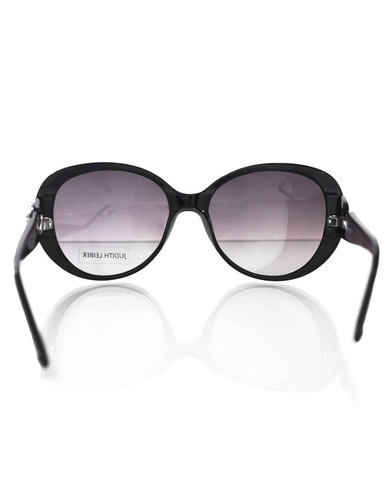 Women's Judith Leiber JL1612 Black Glitter & Purple Crystal Sunglasses with Box & Case For Sale