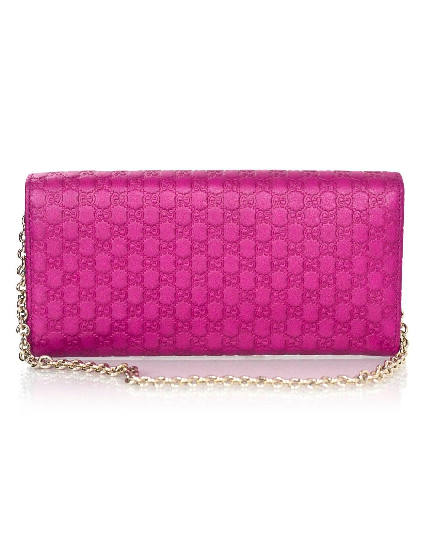 2d98e74aa0fa42 Gucci Fuschia Dice Microguccissima Leather Chain Wallet NIB For Sale at  1stdibs