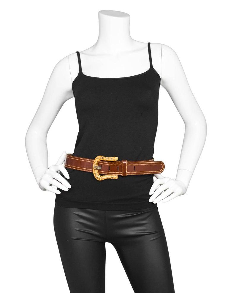 Fendi Brown Patent Leather & Wicker Belt sz 80 For Sale 1