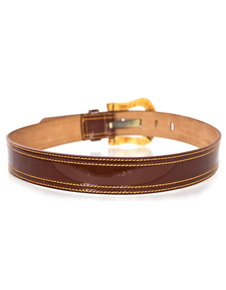 Fendi Brown Patent Leather & Wicker Belt sz 80 In Excellent Condition For Sale In New York, NY