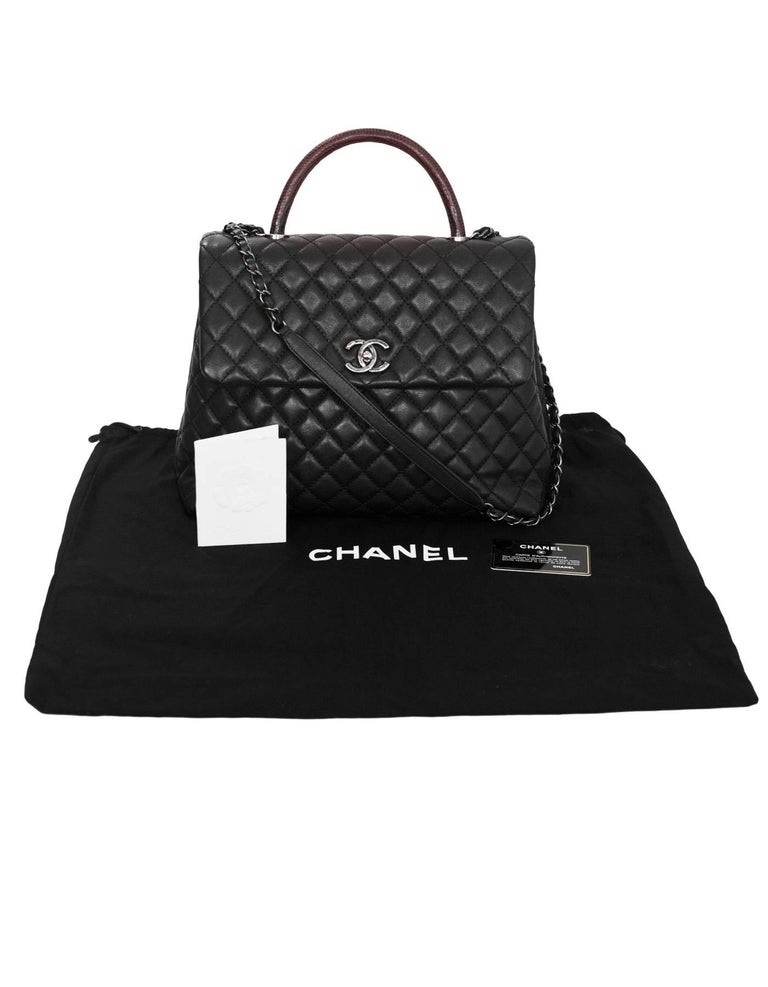 99ef41d60baf Chanel Black Caviar Leather Quilted Large Coco Lizard Handle Bag with DB  For Sale 6
